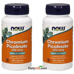 2 x Now Foods Chromium Picolinate 200 mcg 100 Cap Made In