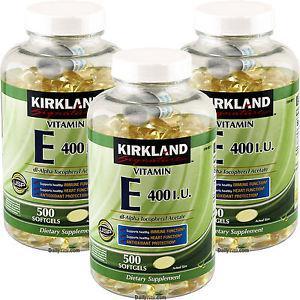 3 x Kirkland Signature Vitamin E 400 IU 500 Softgels, Strong