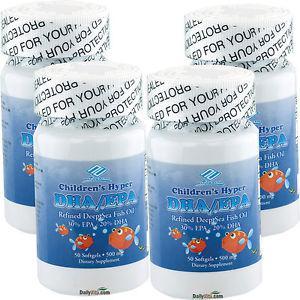 4 x Childrens Kids DHA EPA Omega-3 Fish Oil 50 Softgels,