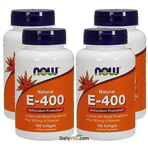 4 x NOW 100% Natural Vitamin E-400 IU Mixed Tocopherols