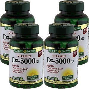 4 x Natures Bounty Vitamin D- IU 300 Softgels, FRESH,