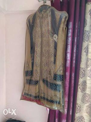 Beige And Gray Sherwani In Package