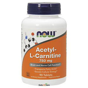 NOW Foods Acetyl-L-Carni tine 750 mg 90 Tabs, Brain and