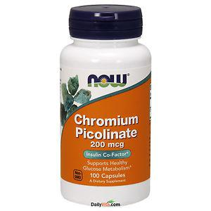 NOW Foods Chromium Picolinate 200 mcg 100 Cap FRESH Made In