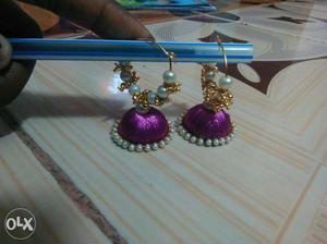 Pair Of Purple Silk Thread Jhumka Earrings