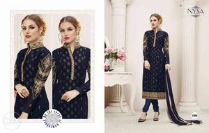 Women's Black And Yellow Floral Salwar Kameez And Dupatta