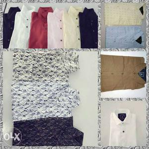 All types shirts in fix price 350 each... plz