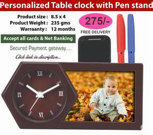 PERSONALIZED TABLE CLOCK WITH PEN STAND Hyderabad