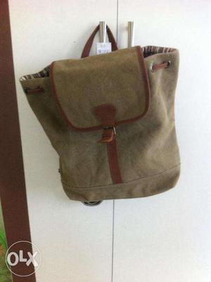 Strong elegant Canvas & leather bagpack from Fab India