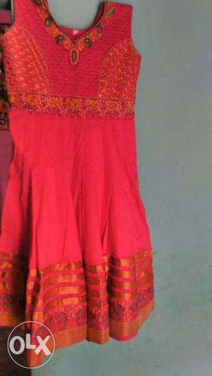 Unused cotton anar kali suite with laggi & duppta work front