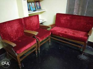 A set of 3 sofas made with pure wood and having