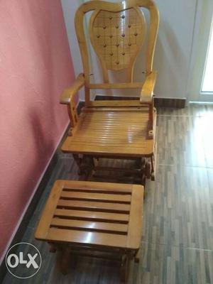 Rocking chair with rocking stool made with pure