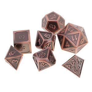 Set of 7pcs Zinc Alloy Multi Sided Dice for D&D RPG MTG