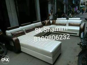 White and brown tufted sectional sofa at cost rate