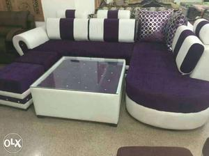 Purple And White Sectional Couch And White Tea Table