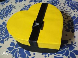 Three Pink, Black And Yellow Heart Jewellery Boxes
