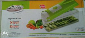 Green And White Sona Vegetable And Fruit Nicer Dicer Box