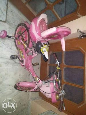 Toddler's Pink Bike With Trainee Wheels