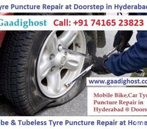 Doorstep Tyre Puncture Repair in Hitech City Hyderabad