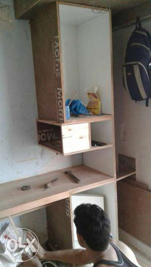 Beige And White Wooden Desk With Hutch