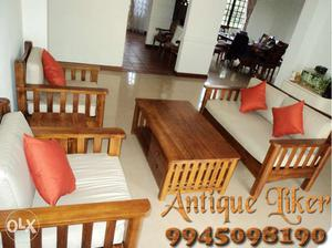 Teak wood 3+1+1 Patti Sofa with quality CXushions