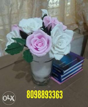 White And Pink Artificial Rose Flowers Centerpiece