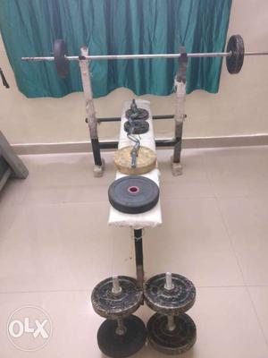 5 in 1 home gym. 5ft rod, biscep rod, 2 dumbbell rod. 22kg