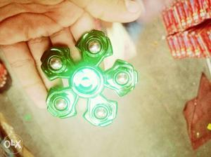 Green 5-bladed Fidget Spinner with metal body