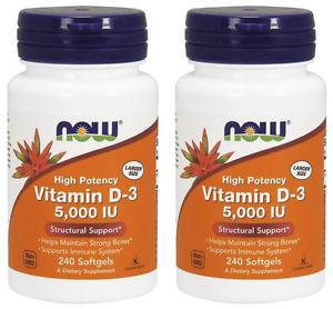 2-Pack Of Vitamin D- IU 240 sGels, Now Foods, Bone