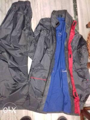 Black And Blue Rain coat Jacket And Pants
