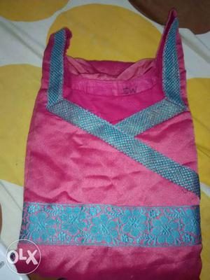 Chanderi silk pink and blue and hakoba pure