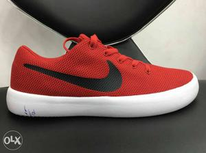 Red And White Nike Running Shoe