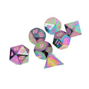Set of 7 Rainbow Zinc Alloy Multi-sided Dice Pink Number for