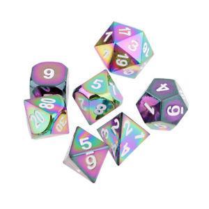 Set of 7 Rainbow Zinc Alloy Multi-sided Dice White Number