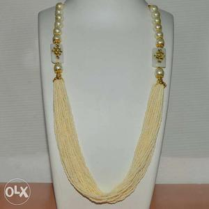 Beige Beaded Multi-strand Pearl Beaded Necklace