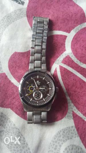 Black Chronograph Watch With Silver Link Band