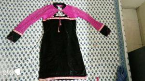 Designer velvet with net kurti in good condition