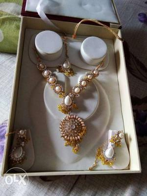 Gold And White Pearl Necklace And Earrings Set In Box