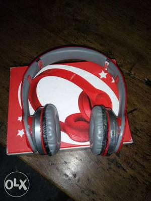 Red And Gray Wireless Headphones