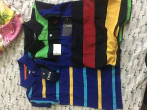Two Blue, Yellow, Red, And Yellow T-SHIRT