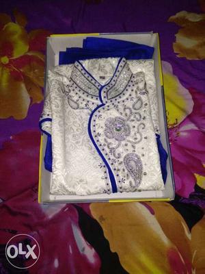 White And Blue Sherwani In Box