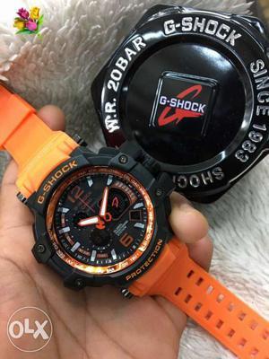 Black And Orange Casio G-Shock Digital Watch With Case