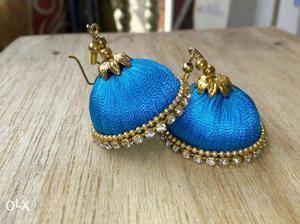 Gold-and-blue Silk Thread Jhumka Earrings