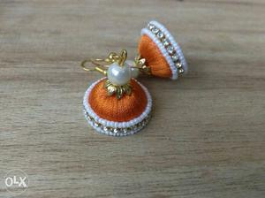 Pair Of Orange Silk Thread Jhumka Earrings