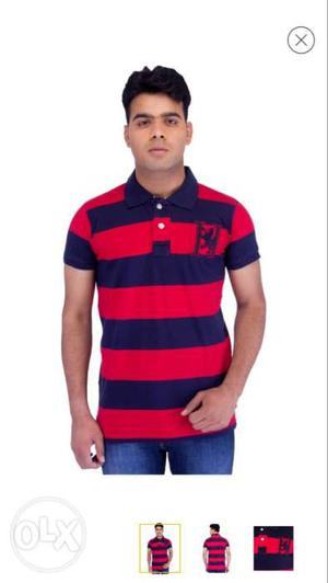Men's Blue And Red Polo Shirt
