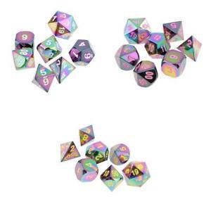 21pcs/Pack Opaque Rainbow Polyhedral Dices D4-D20 for Party