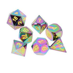 Pack/7pcs Rainbow Zinc Alloy Polyhedral Dice for Party Card