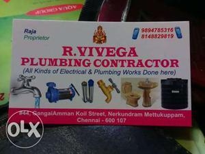 R. Vivega Plumbing Contractor Calling Card