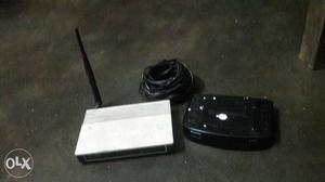 Two White And Black Wireless Router