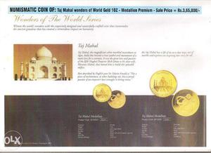 NUMISMATIC COIN OF: Taj Mahal Wonders of World Gold 10Z